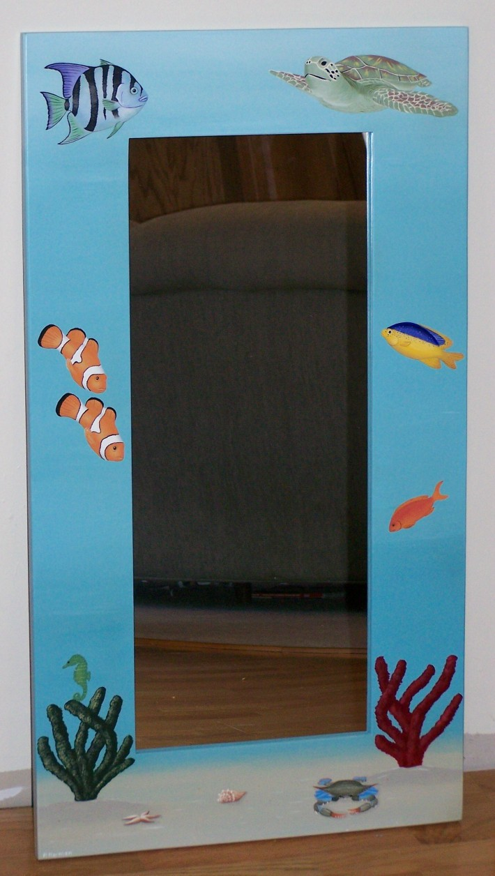 Hand Painted Mirrors Lighthouse Seascape And Nautical