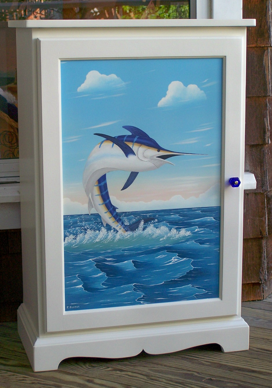 Cottage Style Storage Cabinets With Handpainted Lighthouse