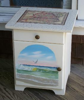 tropical painted furniture beach colored painted scene the artwork is protected with varnish so its easy to care for our art furniture can safely be cleaned damp cloth coastal nautical beach tropical end tables